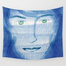 portrait in blue Wall Tapestry