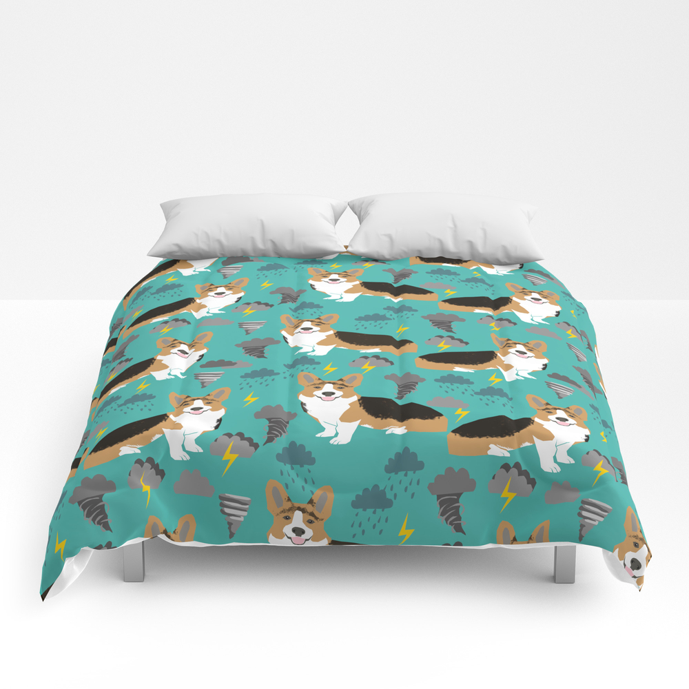 Corgi Storm Chaser - Tornado, Storm, Storms, Weath… Comforter by Corgicrew CMF8429946