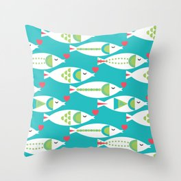 Kissy Fishy Throw Pillow