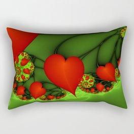 Dancing Red Hearts Fractal Art Rectangular Pillow