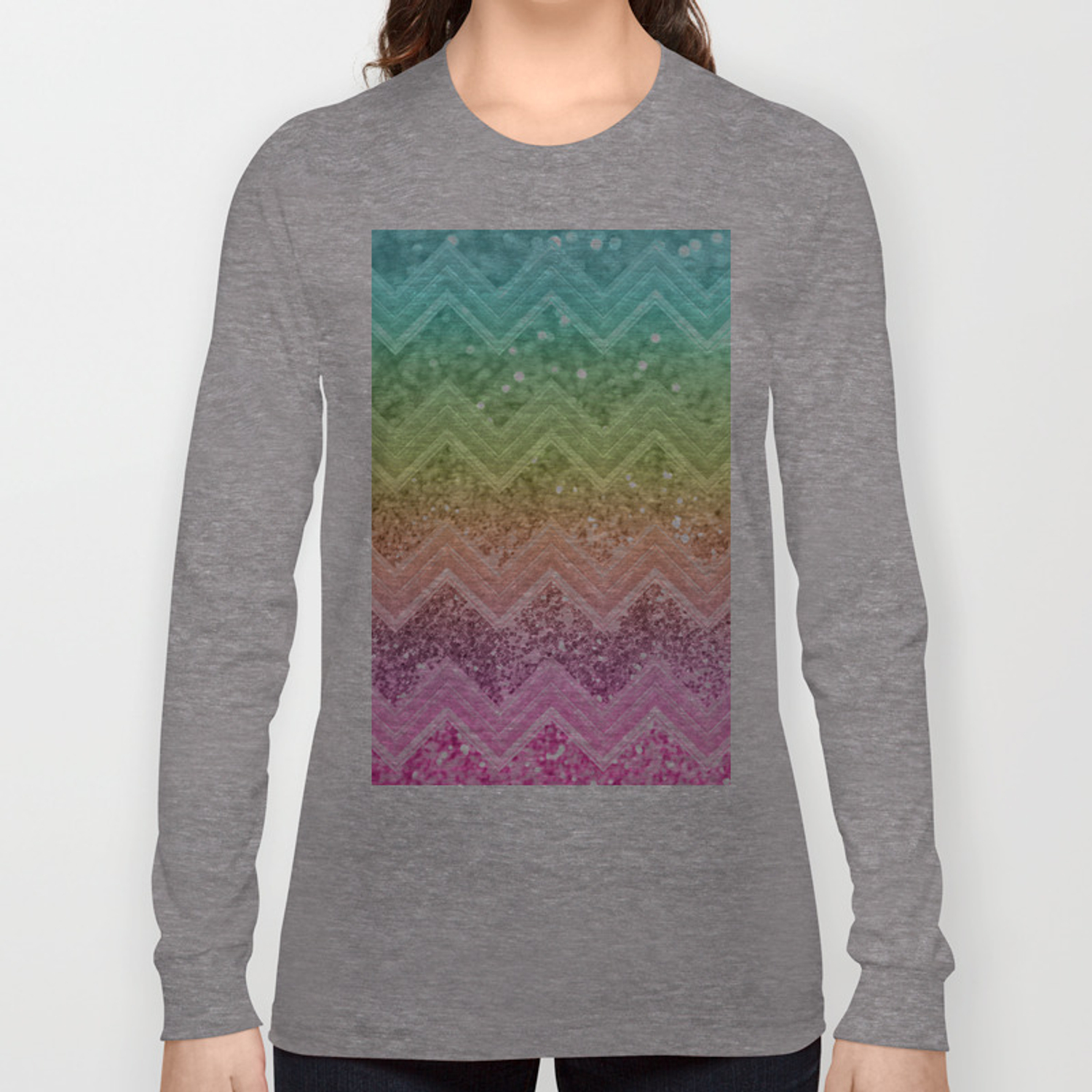 8ffec5695e33 Rainbow Glitter Chevron #1 #shiny #decor #art #society6 Long Sleeve T-shirt  by anitabellajantz | Society6