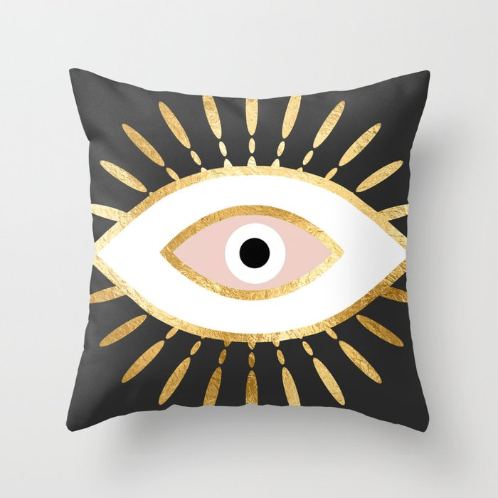 gold foil evil eye in blush Deko-Kissen