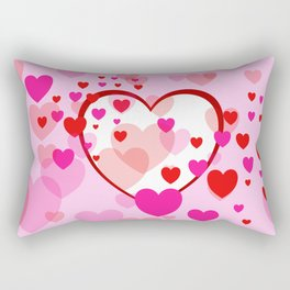 Flying Hearts pink red white Rectangular Pillow