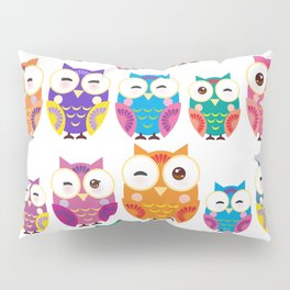 pattern - bright colorful owls on white background Pillow Sham