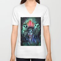 owls V-neck T-shirts featuring Owls by Slaveika Aladjova