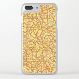 Yellow scribbled lines pattern Clear iPhone Case