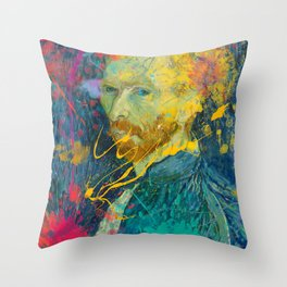 Van Gogh Street Art Dripping Remix Throw Pillow