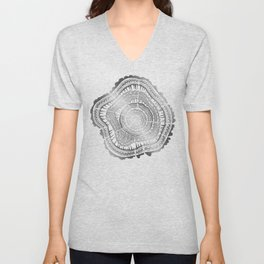 Growth Rings – 65 Years – Silver Unisex V-Neck