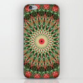 Red, green and cream color mandala iPhone Skin