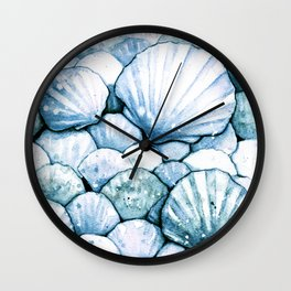 Sea Shells Teal Wall Clock