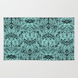 Turquoise Tribal Ethnic Repeat Mirrored Pattern Rug