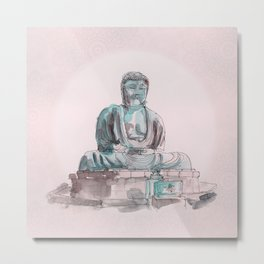 Peace and Harmony watercolor buddha pastel illustration Metal Print