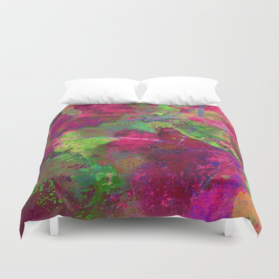 Fusion In Pink And Green Duvet Cover