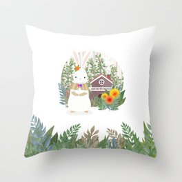 Bunny in the forest Throw Pillow