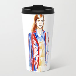 fashion #2. Girl in a striped jacket with embroidery Travel Mug