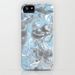 Cyan and grey Marble texture acrylic Liquid paint art iPhone Case