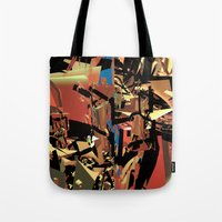 nietzsche Tote Bags featuring Nietzsche Walks Out At Bayreuth (The Theater of Noisea)  by Lanny Quarles