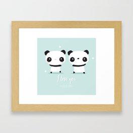 Panda in love Framed Art Print