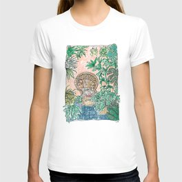 Tropical Coral Jungle Room with Sleeping Cat T-shirt