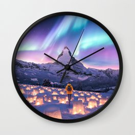 Snow Lanterns Wall Clock