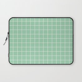 Turquoise green - green color - White Lines Grid Pattern Laptop Sleeve