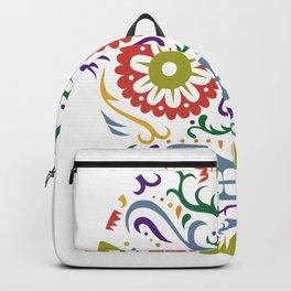 Sugar Skull SF multi 2 - on white Backpack