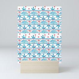 Aztec pattern in blue Mini Art Print