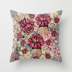 Roses and cherry blossom pattern Throw Pillow
