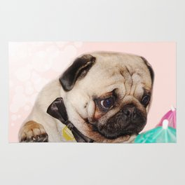 Party pug puppy print Rug