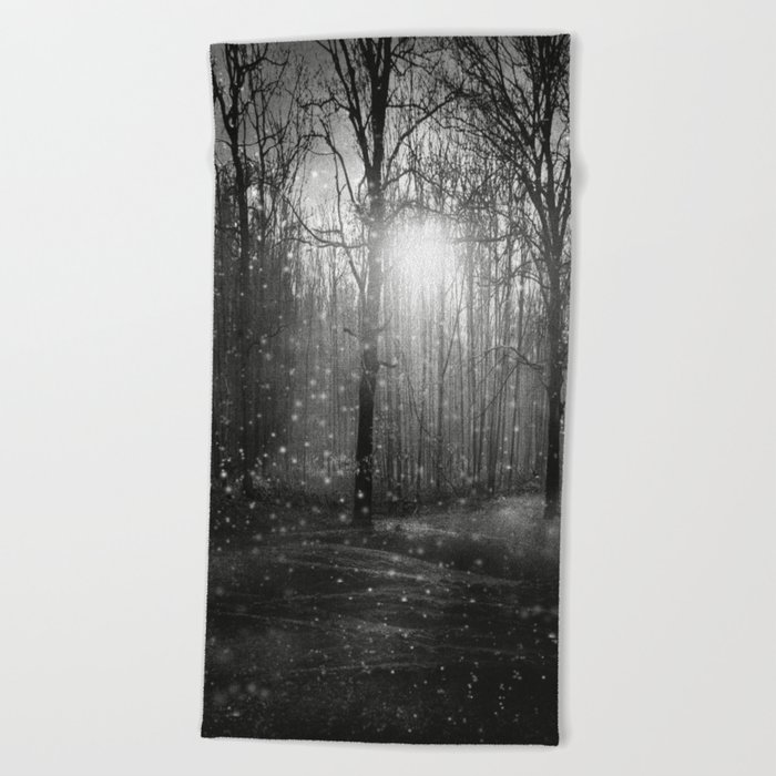 Black and White - In seed time learn, in harvest teach, in winter enjoy Beach Towel