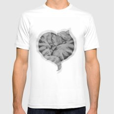 Cuddling Cats MEDIUM Mens Fitted Tee White