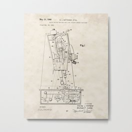 Chain Stitch for Lock Stitch Sewing Machine Vintage Patent Hand Drawing Metal Print