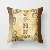 bible verses Throw Pillows featuring Steampunk Bible Verse John 3:16 by Whimsy and Nonsense