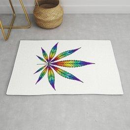 Cannabis Rainbow Leaf Rug