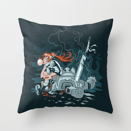 Cyberpunk Beat Down Throw Pillow