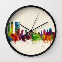 Madrid Skyline Cityscape Watercolor Wall Clock
