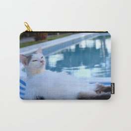 Cat resting on long chair by the pool Carry-All Pouch