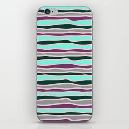 Geometrical mauve violet teal gray forest green stripes iPhone Skin