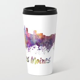 Des Moines skyline in watercolor Travel Mug