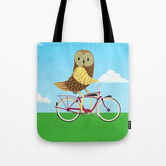 Owl Bicycle Tote Bag
