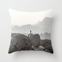 A Silhouette in the Monochromatic Boulders of India Throw Pillow