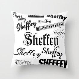 Sheffey Fonts in Black Throw Pillow