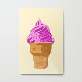 Strawberry Soft Serve Ice Cream Sugar Cone Metal Print