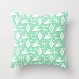 Mid Century Modern Boomerang Abstract Pattern Mint Green Throw Pillow