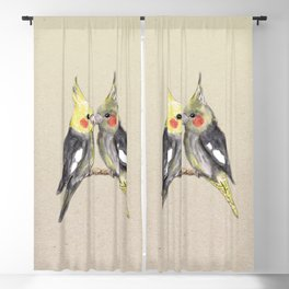 Two cute cockatiels Blackout Curtain