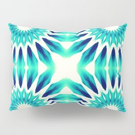 Pinwheel Flowers Turquoise Teal Watercolor Pillow Sham