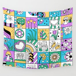 Inchie Doodle Design - Aqua Yellow - Spring Wall Tapestry