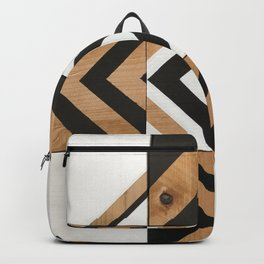 Modern Wood Art, Black and White Chevron Pattern Backpack