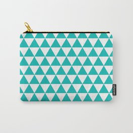 Triangles (Eggshell Blue/White) Carry-All Pouch