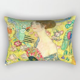 "Gustav Klimt ""Lady with fan"" Rectangular Pillow"